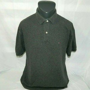 Tommy Hilfiger Large Gray Short Sleeve Polo Shirt